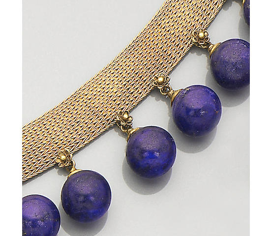An archaeological revival gold and lapis lazuli collar necklace,
