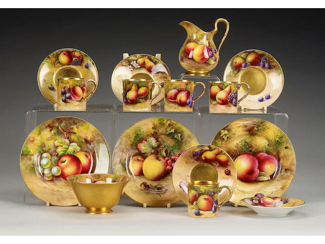 A Royal Worcester fruit painted part coffee service, dated 1928 to 1932,