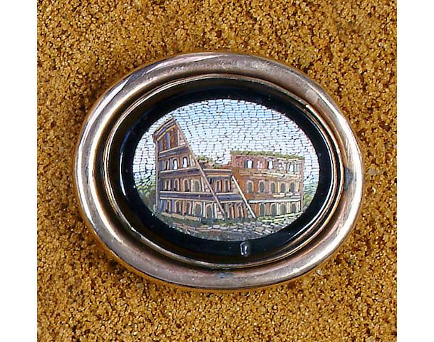 A mid-19th Century micro-mosaic brooch,
