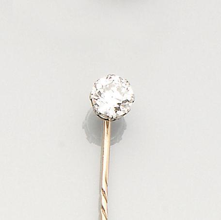 A late 19th century diamond single-stone stick pin