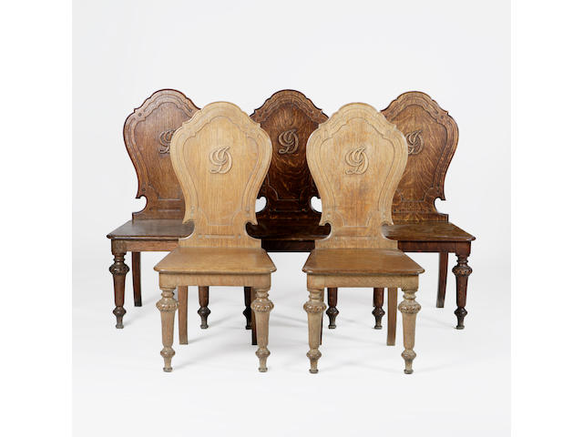 A set of five Victorian oak Hall Chairs,