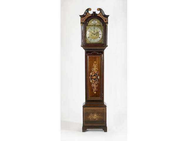 An Edwardian mahogany, rosewood and marquetry inlaid Longcase Clock, Howden of Edinburgh,