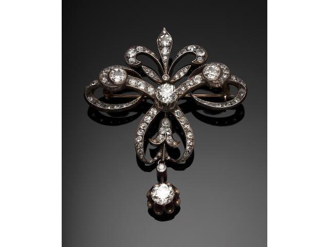 A Victorian diamond-set bow brooch