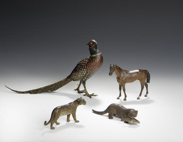 An early 20th Century Austrian cold painted bronze figure of a Pheasant,