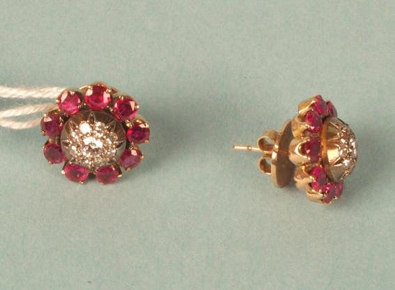 Pair of ruby and diamond earstuds