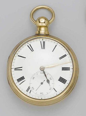 Ellison & Fishwick. An 18ct gold pair cased fusee lever pocket watch with an unsigned 18ct gold open face stop seconds pocket watch hallmarked 1826 and 1911 2