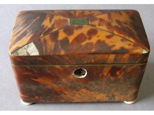 A George III tortoiseshell tea caddy (slight damage)