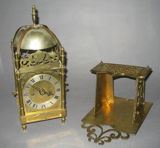 A 1920s 17th century design brass lantern clock,
