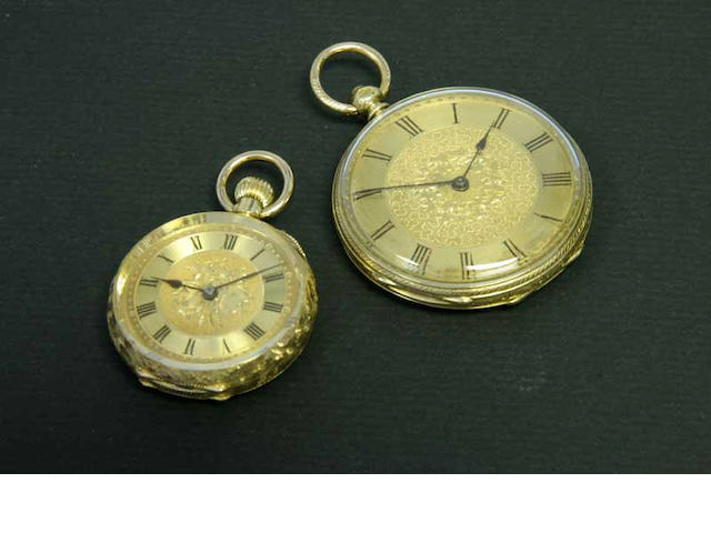 A lot of two 18ct gold open face fob watches  late 19th and early 20th century  2