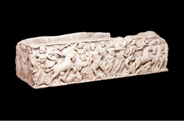 A Roman statuary white marble sarcophagus