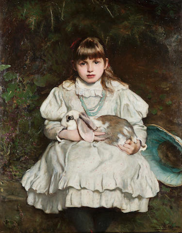 Frank Holl, RA (British 1845-1888) Portrait of a young girl holding a pet rabbit 106 x 83 cm. (41 3/4 x 32 3/4 in.)
