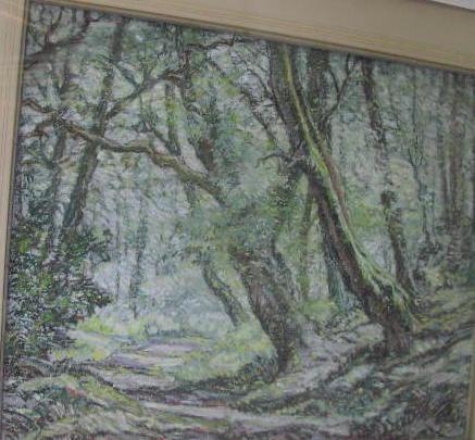 Osmund H Bissell (1906-1968) Sunlit woodland glade 45 x 56cm.
