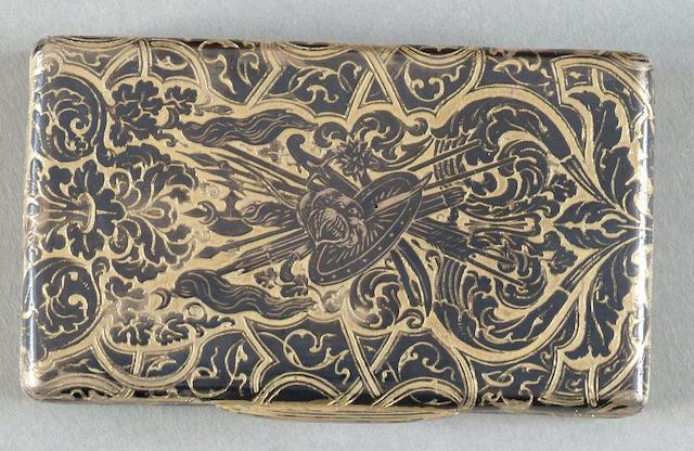 A French 19th Century silver and niello snuff box Indistinct makers mark and Minerva head mark,