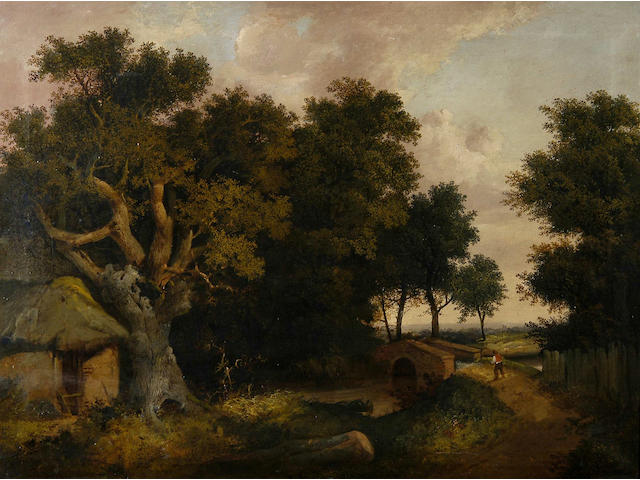 Attributed to Edward Littlewood (late 19th Century) A wooded landscape with a figure by a bridge 76 x 102cm (30 x 40in).