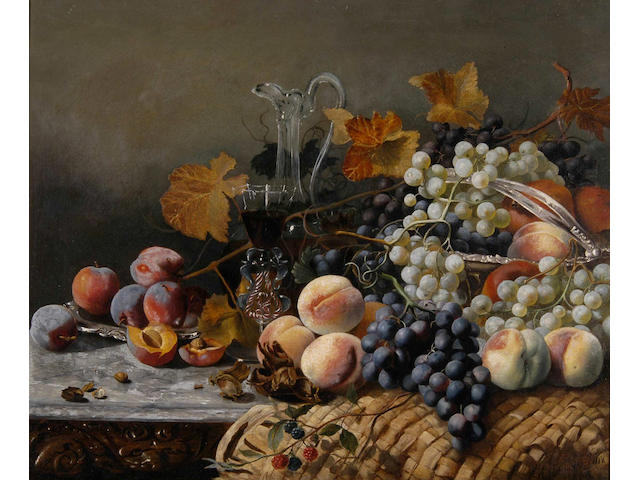 Eloise Harriet Stannard (1818-1915) Still life with grapes, peaches and a decanter 51 x 61.5cm (20 x 24in).