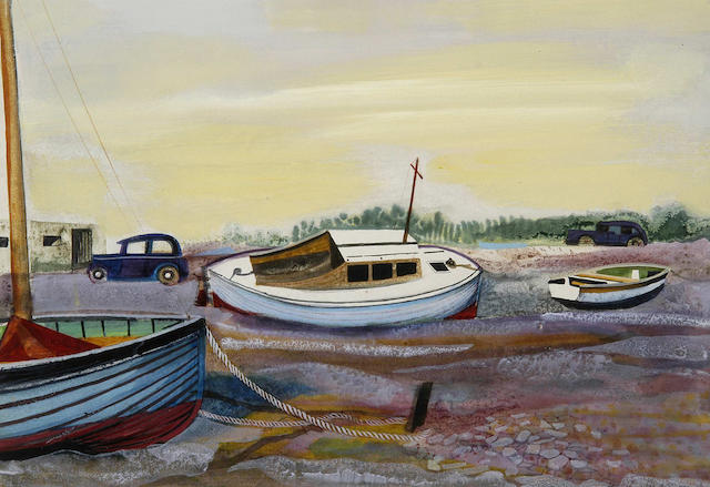 Humphrey Spender (1910-2005) Tidal river scene with boats and cars 38 x 53cm (15 x 21in).