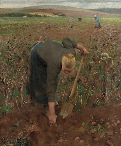 Sir George Clausen R.A., R.W.S. (1852-1944) In the Fields, Dannes Pas de Calais 61.5 x 50.8 cm. (24