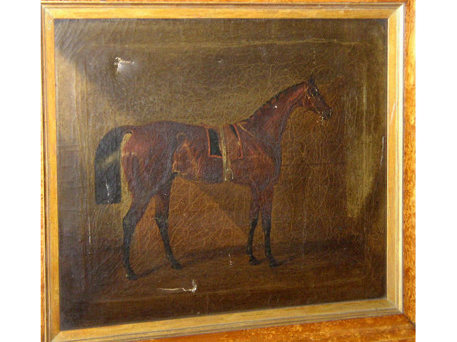 English School circa 1840 Dark bay racehorse in a stable,