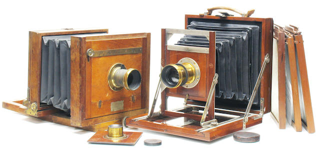 """""""English Compact"""" View camera, Blair Camera Co., whole plate in mahogany having retailers label of L. M. Prince & Bro Cincinnati together with a Champion 5 x 8 inch view camera."""