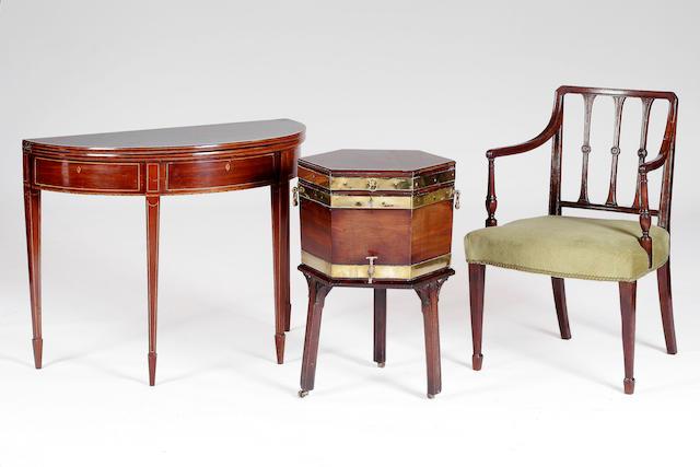 A George III inlaid mahogany demi-lune fold-over tea table,