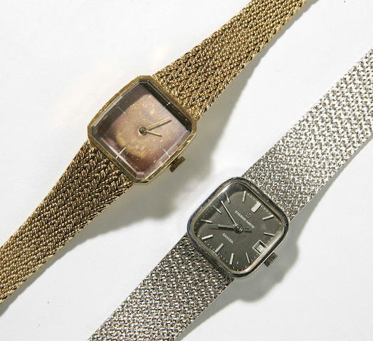 A lady's 18ct yellow gold wristwatch and an 18ct white gold wristwatch,, by Certina and Eterna-matic by Sahida,