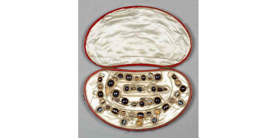 Lady Hamilton's seed pearl and banded agate demi parure,