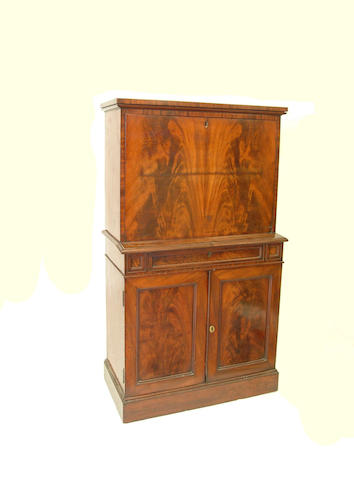 A Victorian mahogany secretaire cabinet,