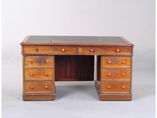 A Victorian mahogany partners desk