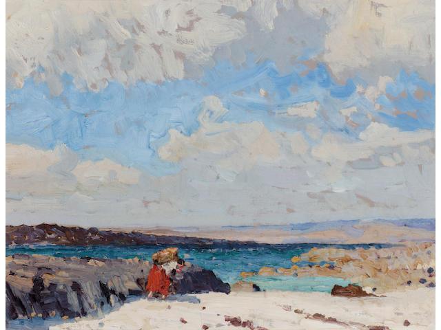 Charles Lamb R.H.A., R.U.A. (1893-1964) Gathering seaweed 25.5 x 33 cm. (10 x 13 in.)