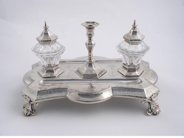 A Victorian desk stand, by Stephen Smith, London 1869,