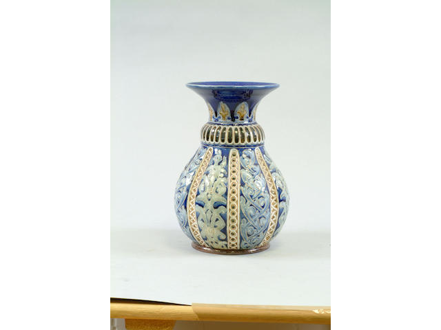 A Lambeth Doulton stoneware vase by Frank Butler