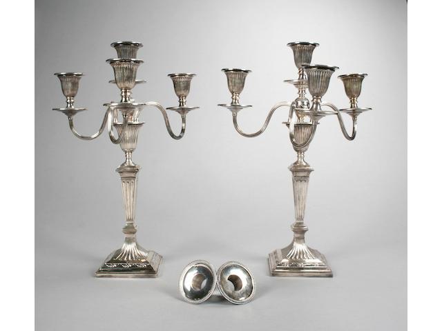 A good pair of Victorian three branch, four light candelabra, by Hawksworth, Eyre & Co, Ltd, Sheffield 1887,