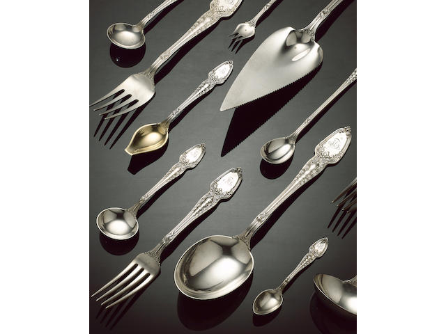 An American silver table service of flatware, by Tiffany & Co., impressed STERLING, and with pattern