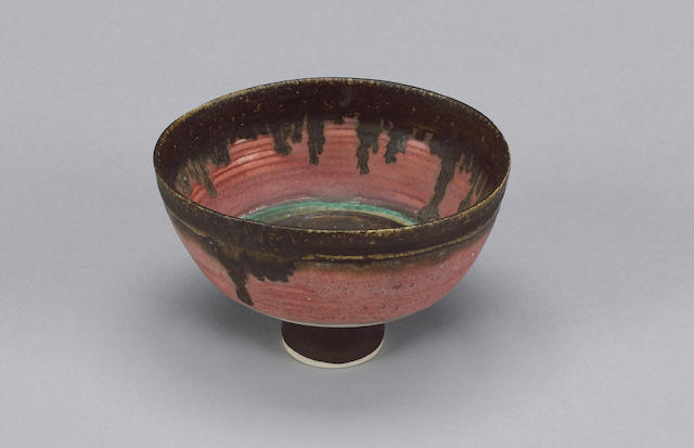 Dame Lucie Rie a small Bowl with pink inlay, circa 1980 Diameter 5 in. (12.6cm)