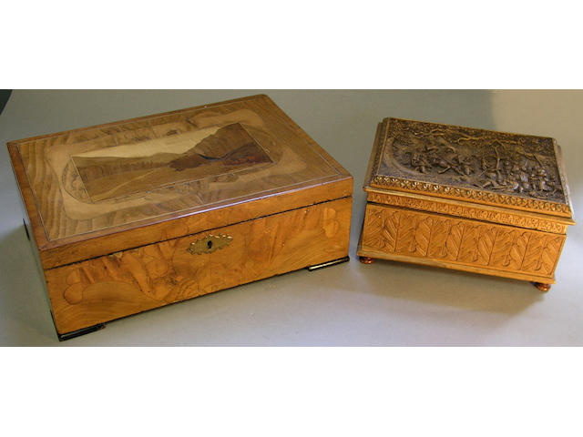 A late 19th Century rectangular marquetry box
