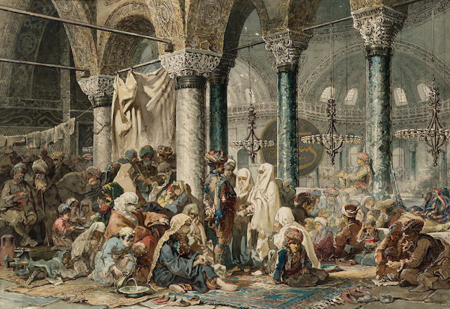 Vittorio Amadeo, 5th Count Preziosi (Maltese, 1816-1882) The interior of the Hagia Sophia 47.5 x 69 cm. (18 3/4 x 27 1/4 in.)