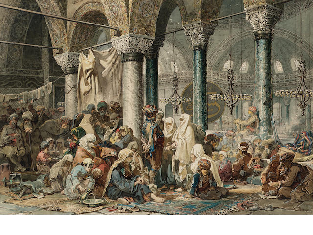 Vittorio Amadeo, 5th Count Preziosi (Maltese, 1816-1882) The interior of the Hagia Sophia 47.5 x 69