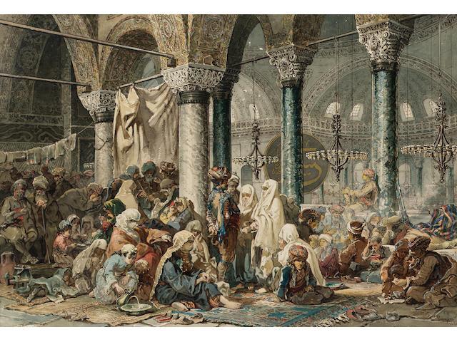 Vittorio Amadeo, 5th Count Preziosi (Maltese, 1816-1882) The interior of the Hagia Sophia 47.5 x 69 cm. (18 3/4 x 27 1/4 in.)