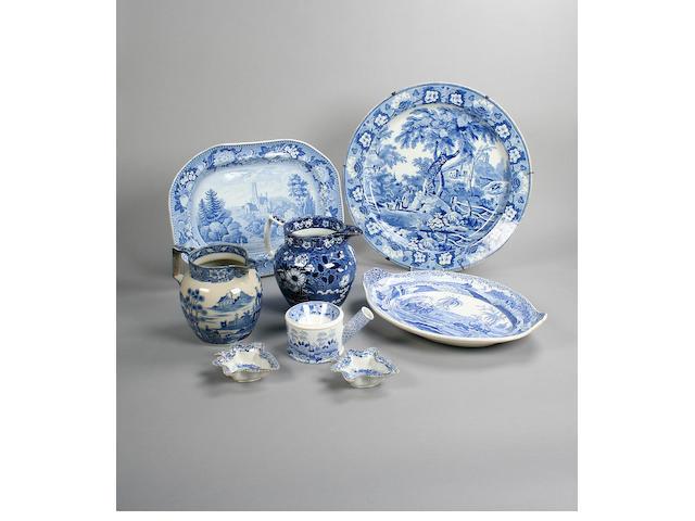 A blue printed jug Circa 1820-30