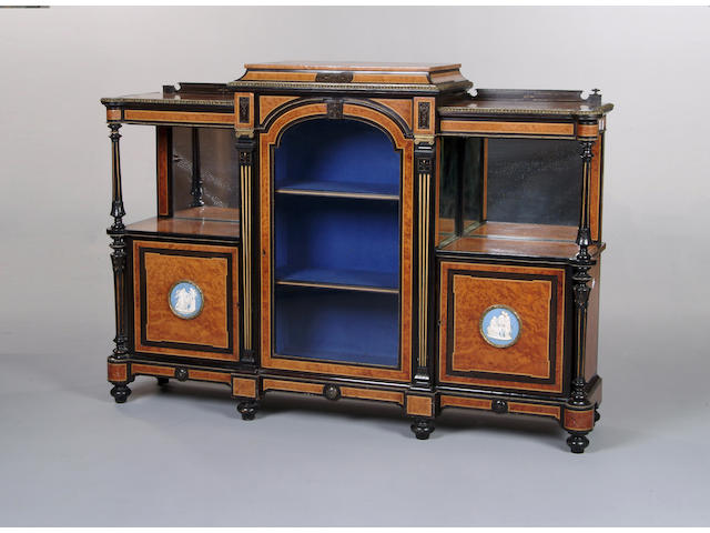 A Victorian thuya, ebonised and gilt metal mounted breakfront side cabinet