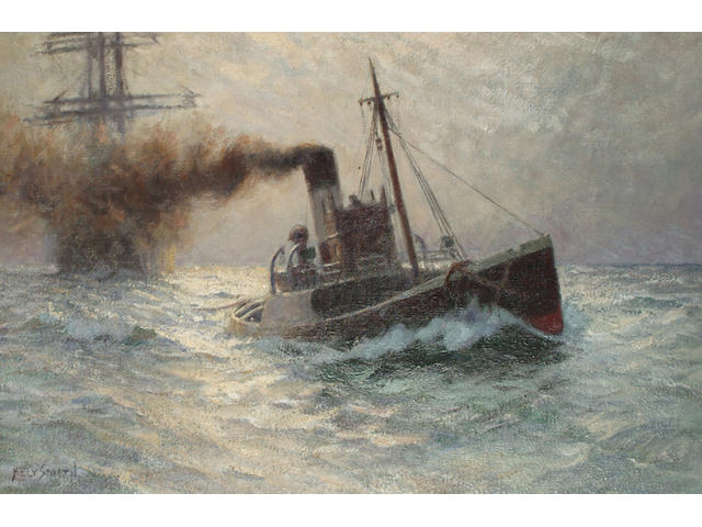 Hely Augustus Morton Smith (1862 - 1941) In Tow of the Triton, signed, also signed and titled on stretcher verso, oil on canvas, 39.5 x 59.5cm.