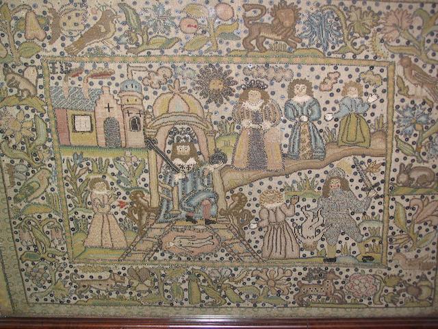 A mid 17th Century petitpoint panel