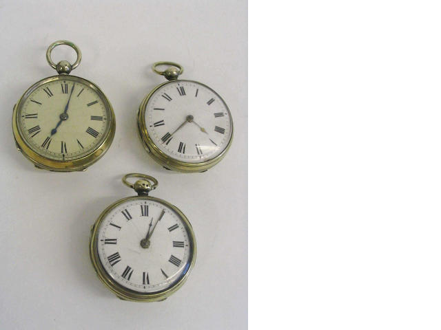 A collection of three verge movement pocket watches