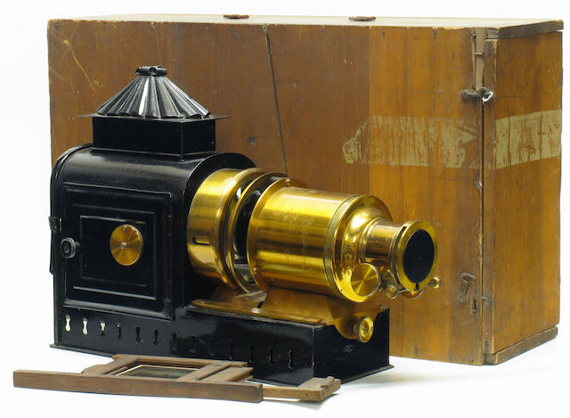 Magic Lantern by W. Butcher & Sons, 19th or early 20th Century magic lantern for 3 1/4 inch square slides.