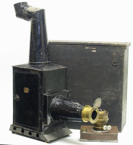 "Phantasmagoria type lantern by ""F. Cox Optician 100 Newgate South London', circa 1850."