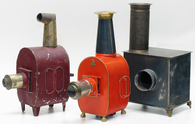 Childrens Magic Lanterns, one bearing the Bing brass trade mark, together with a similar unmarked, probably Jean Schoenner.