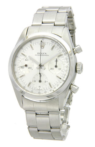Rolex. A fine and rare stainless steel chronograph wristwatch with original factory bracelet   So-ca