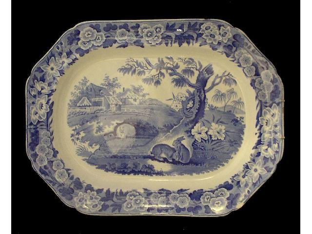 A large blue printed 'Grazing Rabbits' platter Circa 1835