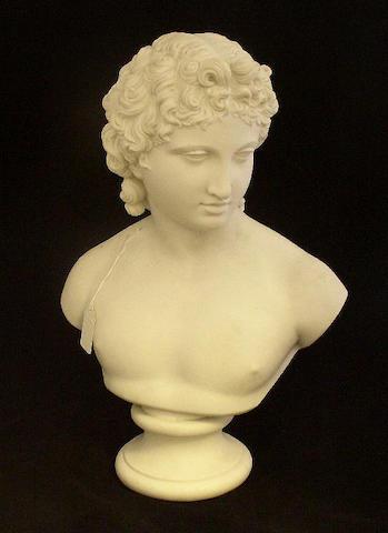A parian bust of Apollo Circa 1875