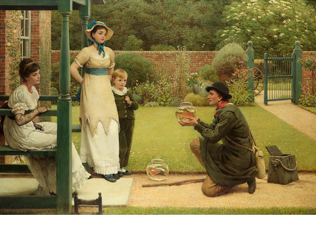 George Dunlop Leslie, RA (British 1835-1921) The goldfish seller 75.5 x 111 cm. (29 3/4 x 43 1/2 in.
